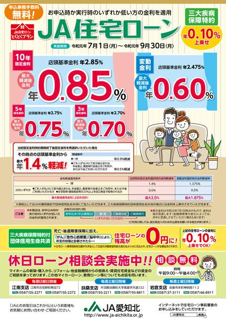 JA住宅ローンとくとくプラン 令和元年7~9月