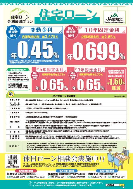 住宅ローン・マイカーローン・教育ローン 令和3年4月1日~